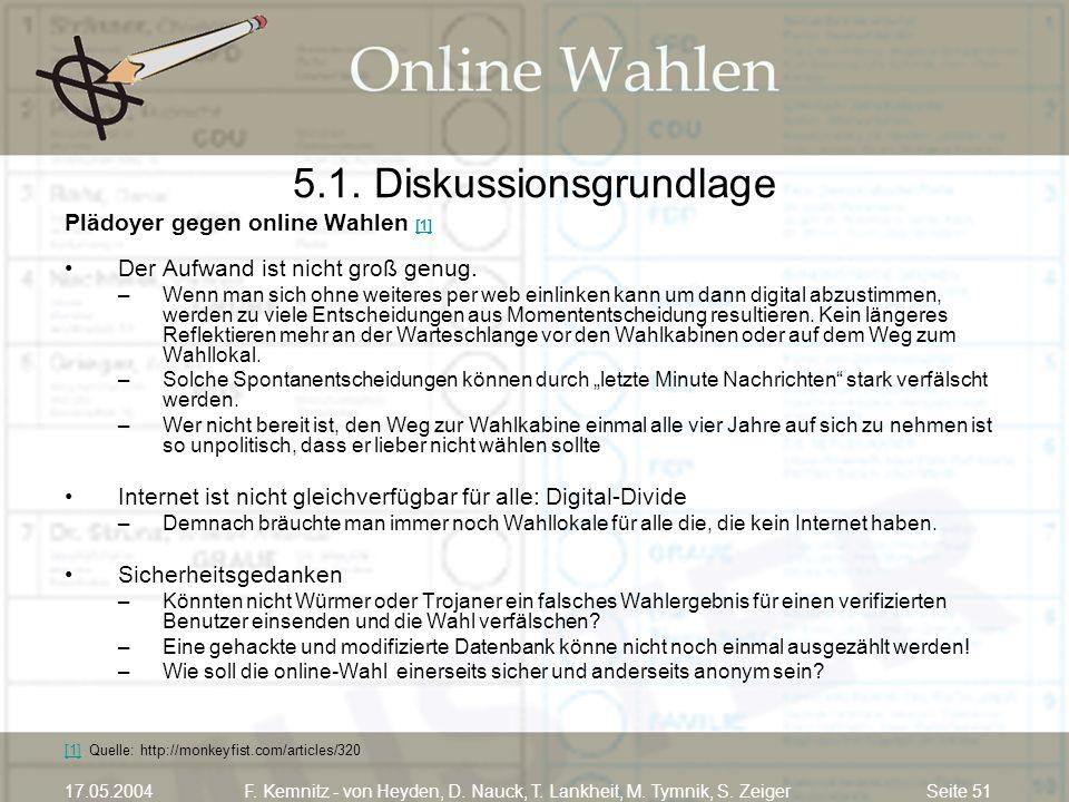 Seite 5117.05.2004F. Kemnitz - von Heyden, D. Nauck, T. Lankheit, M. Tymnik, S. Zeiger 5.1. Diskussionsgrundlage Plädoyer gegen online Wahlen [1] [1]
