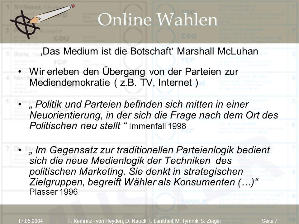Seite 717.05.2004F. Kemnitz - von Heyden, D. Nauck, T. Lankheit, M. Tymnik, S. Zeiger Das Medium ist die Botschaft Marshall McLuhan Wir erleben den Üb