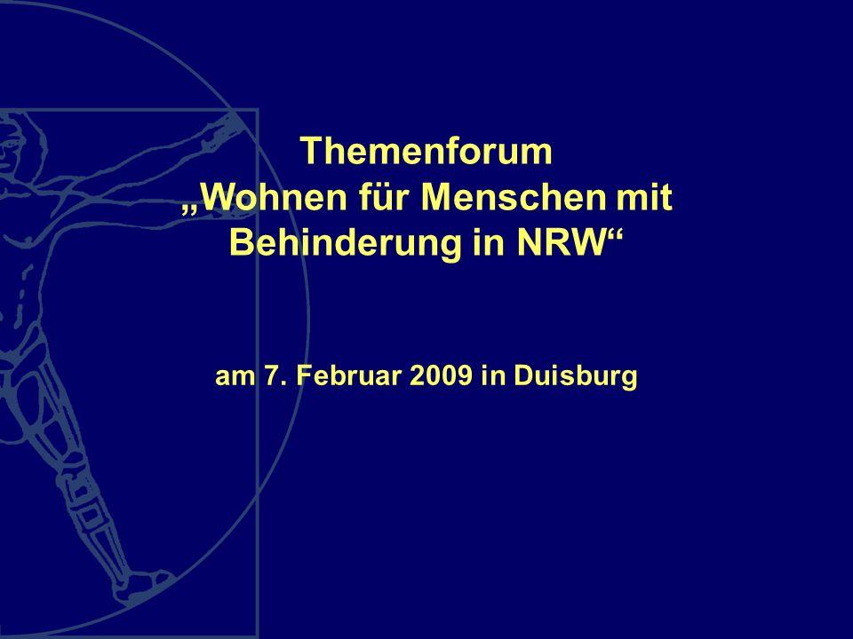 Themenforum Wohnen für Menschen mit Behinderung in NRW am 7. Februar 2009 in Duisburg