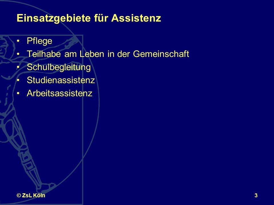 3© ZsL Köln Einsatzgebiete für Assistenz Pflege Teilhabe am Leben in der Gemeinschaft Schulbegleitung Studienassistenz Arbeitsassistenz