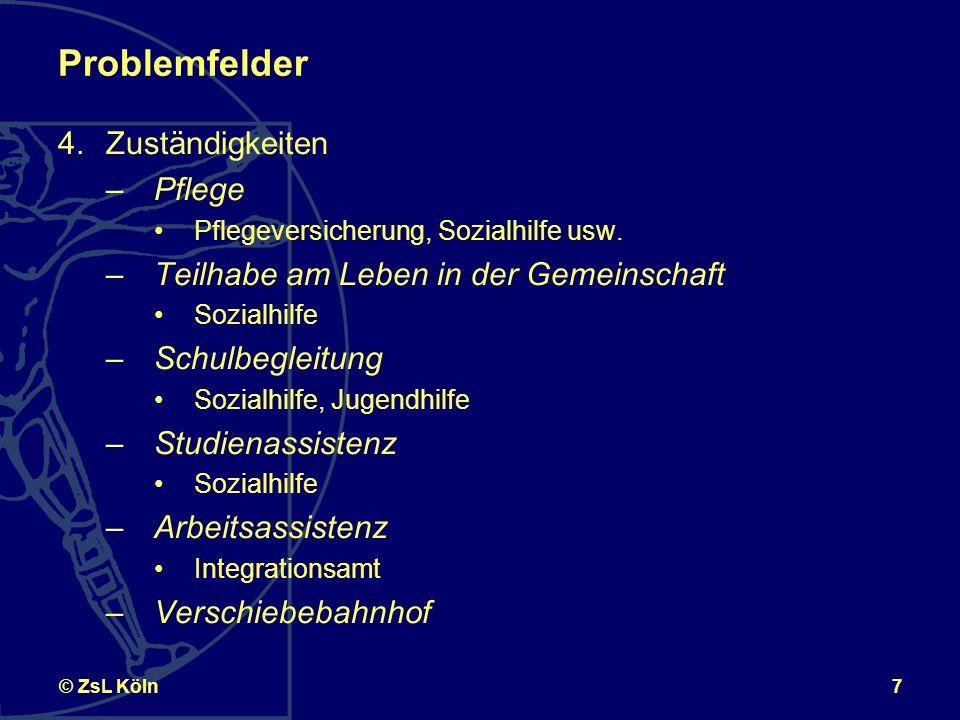 7© ZsL Köln Problemfelder 4.Zuständigkeiten –Pflege Pflegeversicherung, Sozialhilfe usw.
