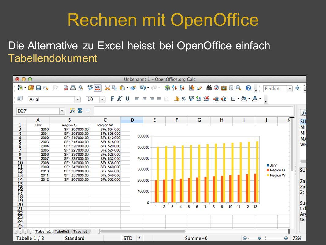 Rechnen mit OpenOffice Die Alternative zu Excel heisst bei OpenOffice einfach Tabellendokument
