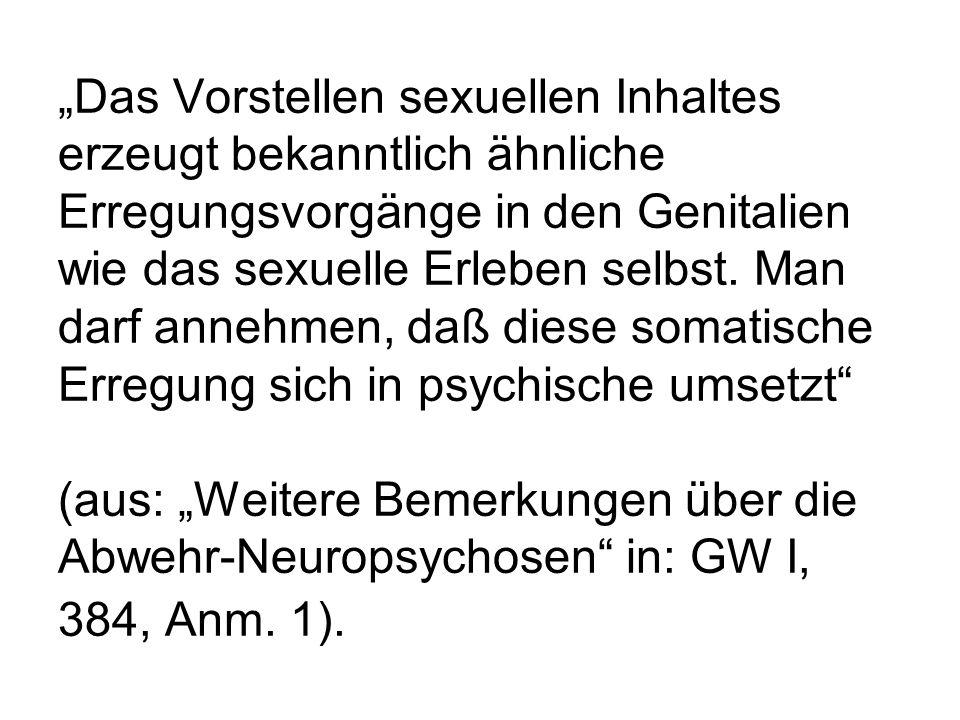 Das Vorstellen sexuellen Inhaltes erzeugt bekanntlich ähnliche Erregungsvorgänge in den Genitalien wie das sexuelle Erleben selbst. Man darf annehmen,