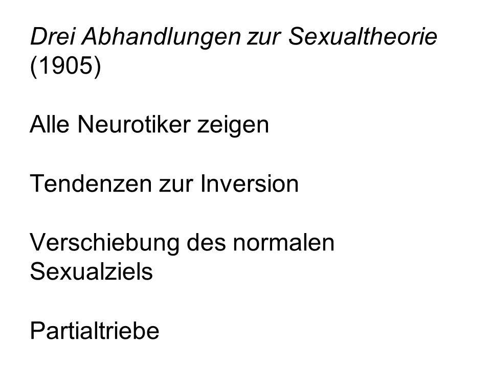 Drei Abhandlungen zur Sexualtheorie (1905) Alle Neurotiker zeigen Tendenzen zur Inversion Verschiebung des normalen Sexualziels Partialtriebe