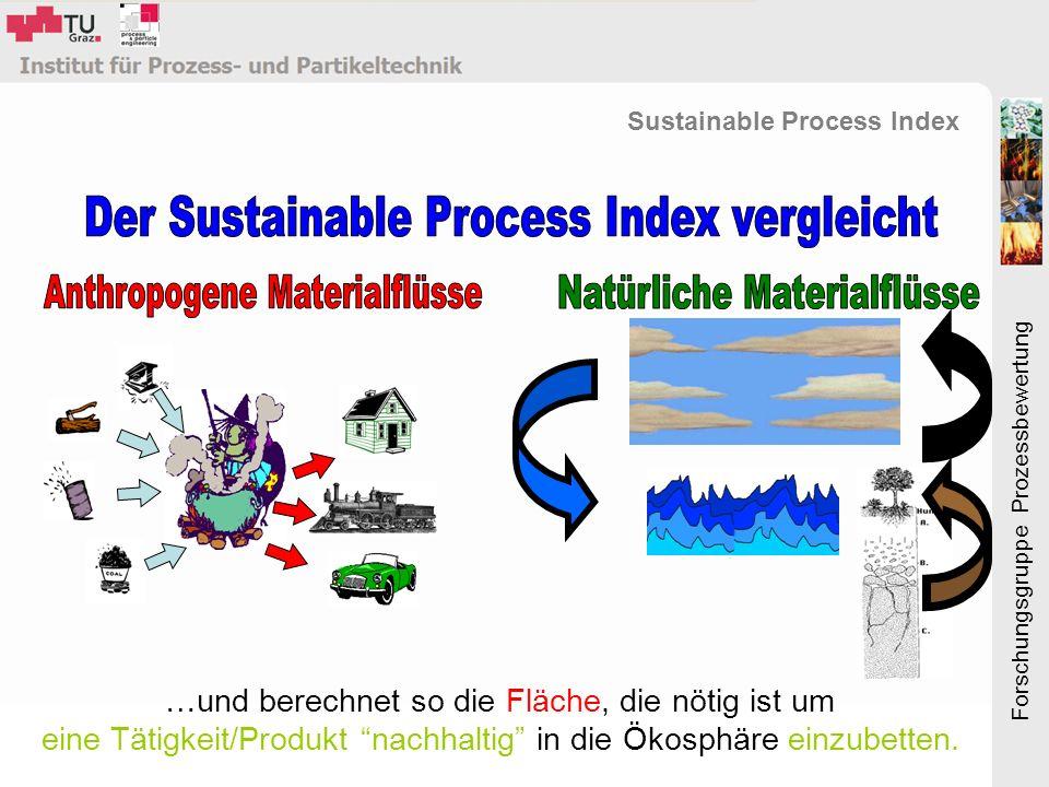 Forschungsgruppe Prozessbewertung Sustainable Process Index …und berechnet so die Fläche, die nötig ist um eine Tätigkeit/Produkt nachhaltig in die Ökosphäre einzubetten.