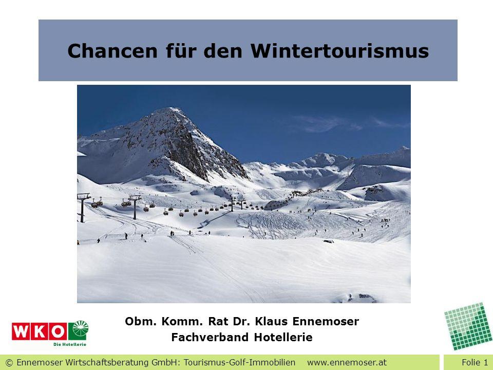 © Ennemoser Wirtschaftsberatung GmbH: Tourismus-Golf-Immobilien www.ennemoser.at Folie 1 Chancen für den Wintertourismus Obm. Komm. Rat Dr. Klaus Enne