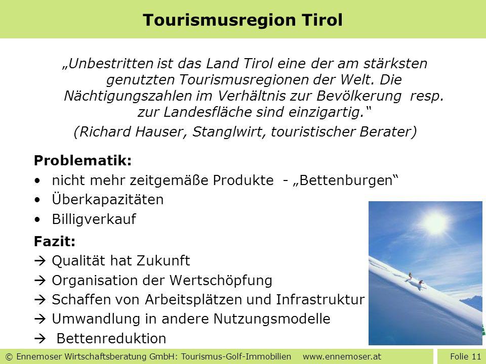 © Ennemoser Wirtschaftsberatung GmbH: Tourismus-Golf-Immobilien www.ennemoser.at Tourismusregion Tirol Unbestritten ist das Land Tirol eine der am stä