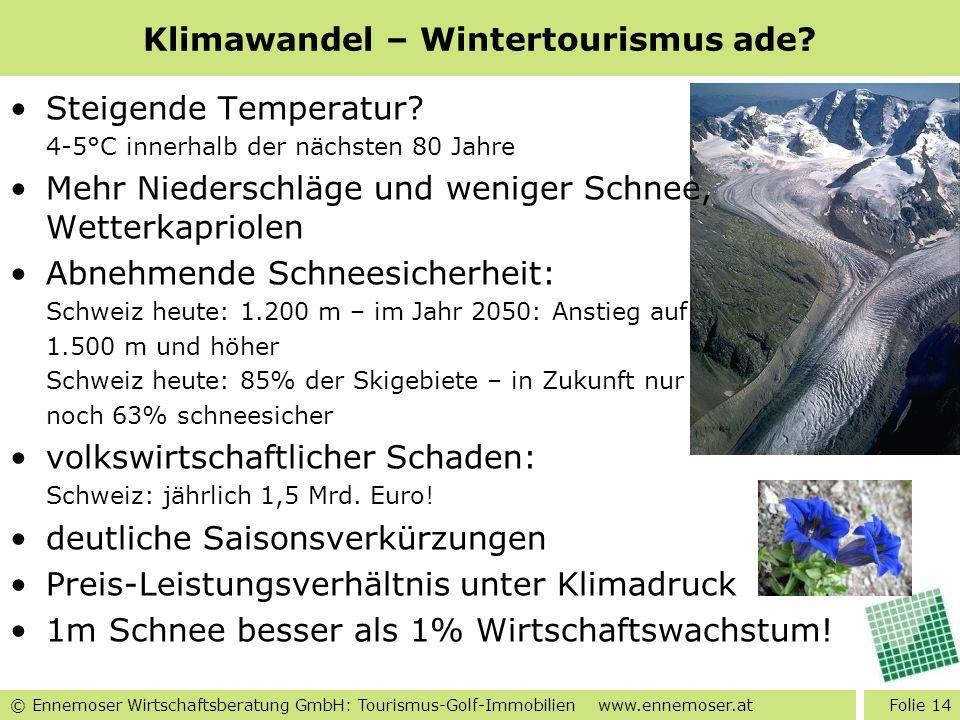 © Ennemoser Wirtschaftsberatung GmbH: Tourismus-Golf-Immobilien www.ennemoser.at Klimawandel – Wintertourismus ade? Steigende Temperatur? 4-5°C innerh
