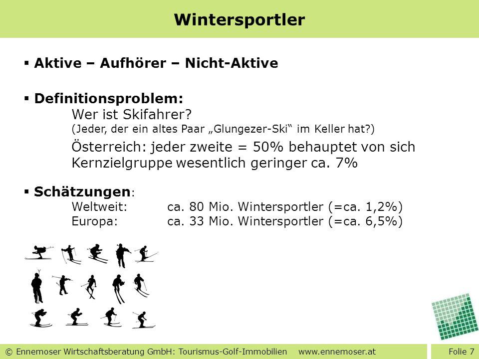 © Ennemoser Wirtschaftsberatung GmbH: Tourismus-Golf-Immobilien www.ennemoser.at Wintersportler Folie 7 Aktive – Aufhörer – Nicht-Aktive Definitionspr