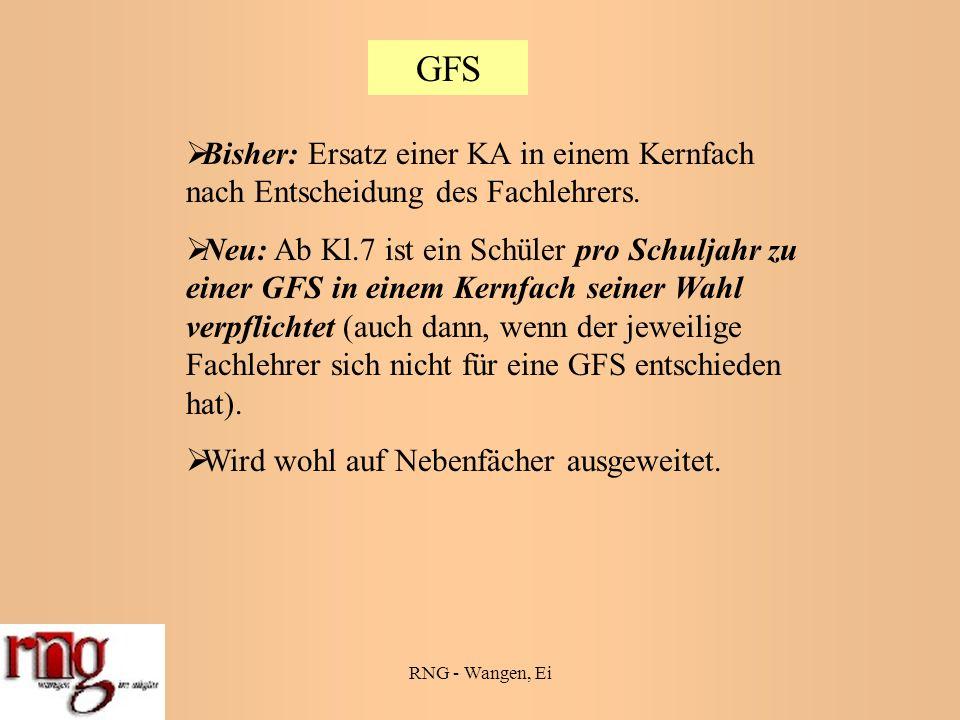 RNG - Wangen, Ei GFS Bisher: Ersatz einer KA in einem Kernfach nach Entscheidung des Fachlehrers.