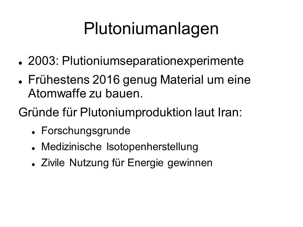 Plutoniumanlagen 2003: Plutioniumseparationexperimente Frühestens 2016 genug Material um eine Atomwaffe zu bauen. Gründe für Plutoniumproduktion laut