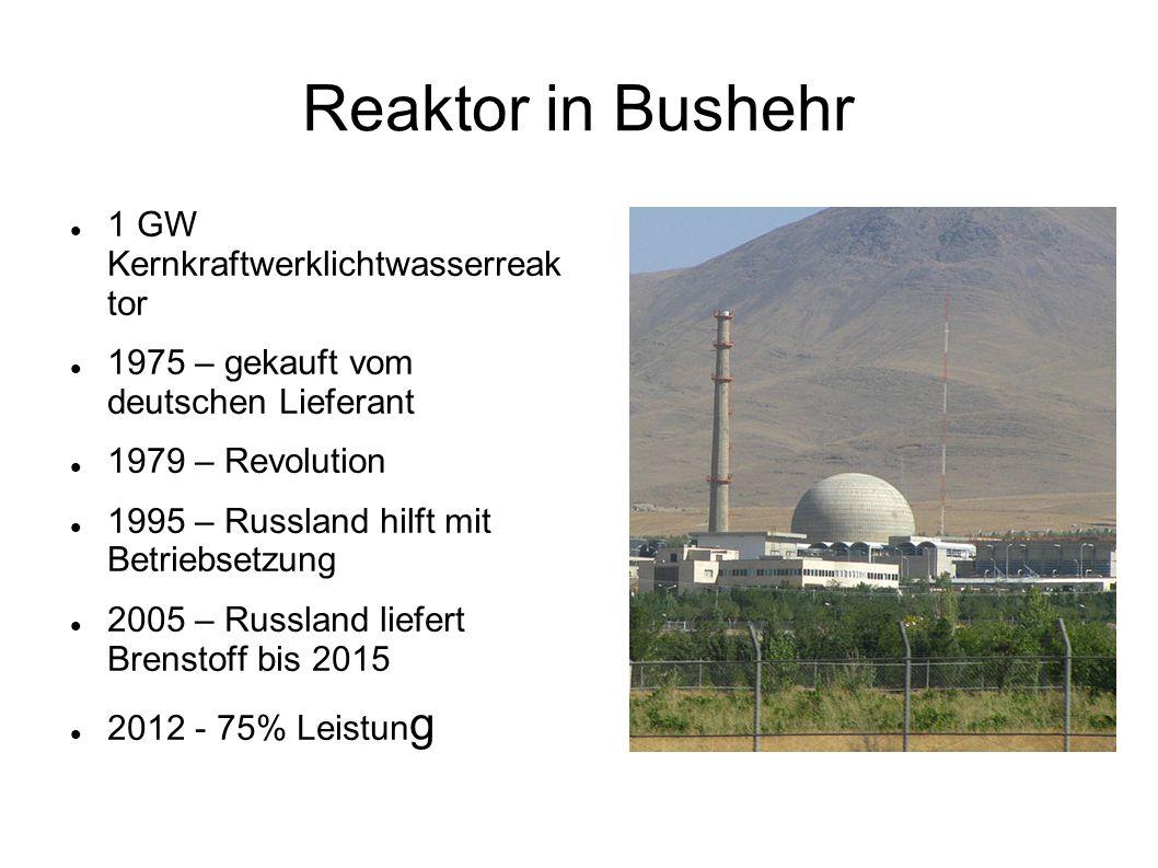 Reaktor in Bushehr 1 GW Kernkraftwerklichtwasserreak tor 1975 – gekauft vom deutschen Lieferant 1979 – Revolution 1995 – Russland hilft mit Betriebset