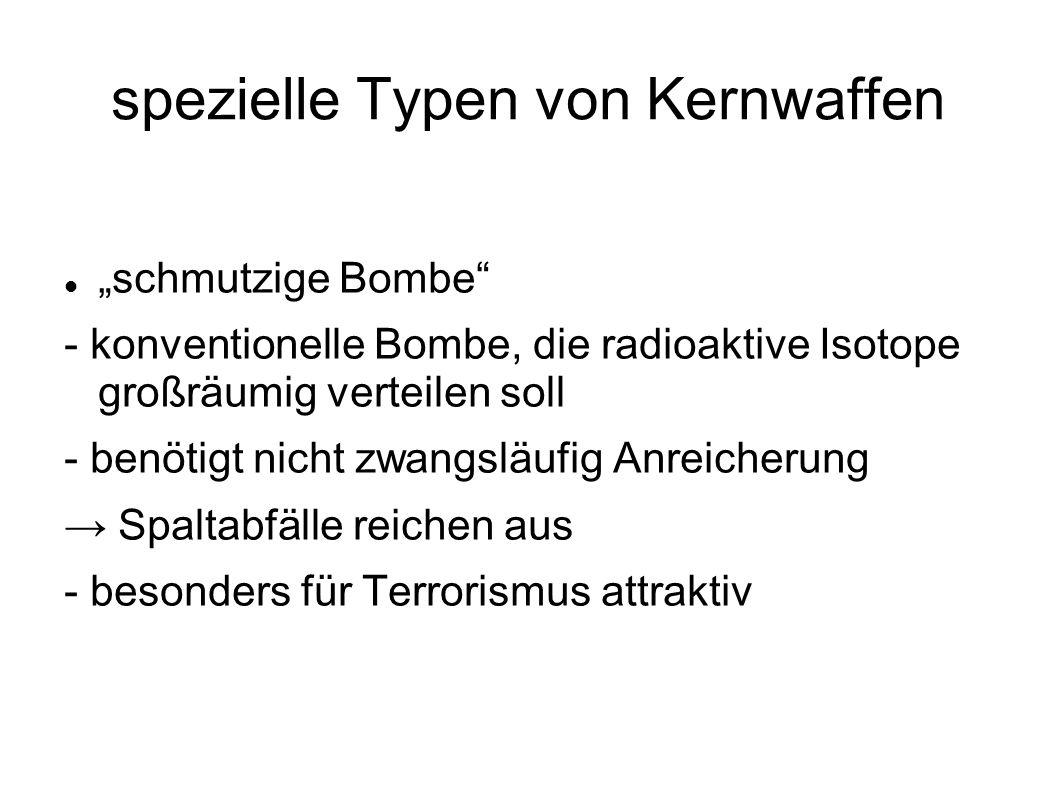 spezielle Typen von Kernwaffen schmutzige Bombe - konventionelle Bombe, die radioaktive Isotope großräumig verteilen soll - benötigt nicht zwangsläufi
