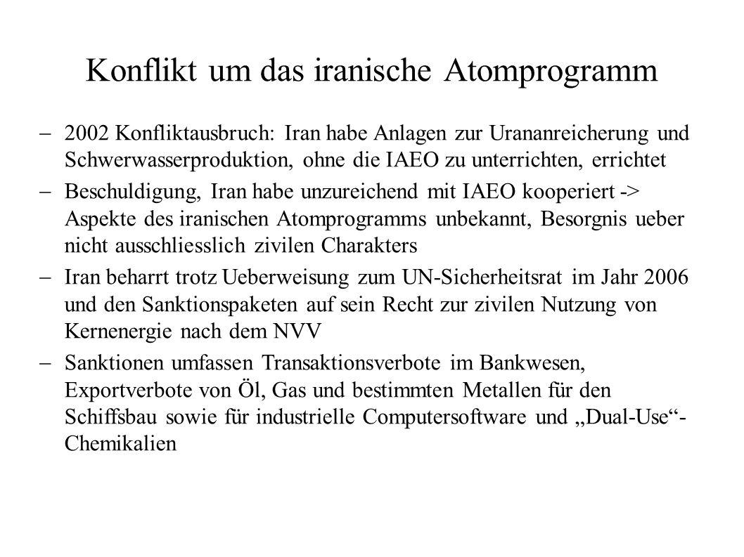 Konflikt um das iranische Atomprogramm 2002 Konfliktausbruch: Iran habe Anlagen zur Urananreicherung und Schwerwasserproduktion, ohne die IAEO zu unte