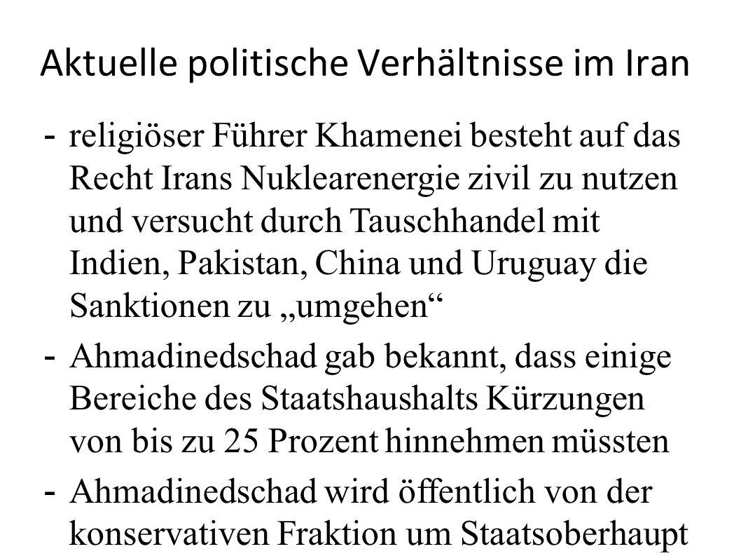 Aktuelle politische Verhältnisse im Iran - religiöser Führer Khamenei besteht auf das Recht Irans Nuklearenergie zivil zu nutzen und versucht durch Ta
