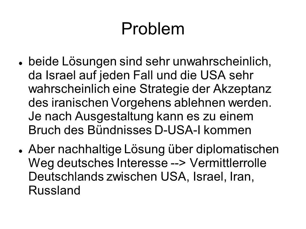 Problem beide Lösungen sind sehr unwahrscheinlich, da Israel auf jeden Fall und die USA sehr wahrscheinlich eine Strategie der Akzeptanz des iranische