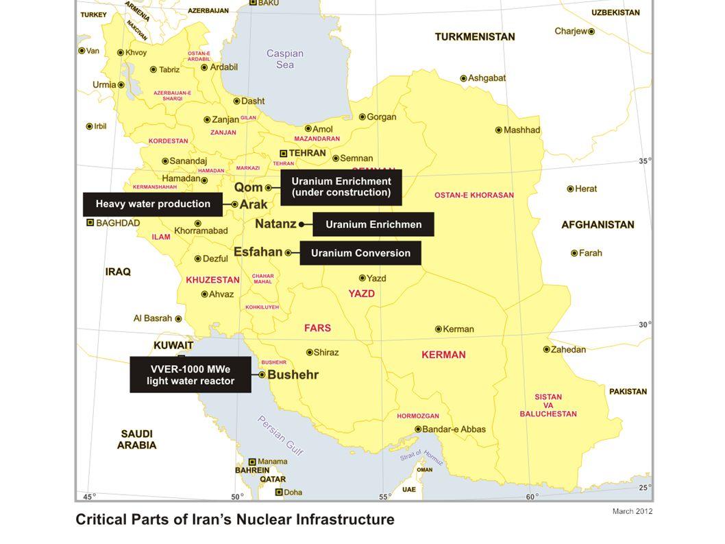Natanz kommerzielle Anlage 47 000 Centrifugen Ziel: Sie bis 2015 vollständig zu installieren Produktion von LEU Bis August 2012: 6876 kg 5% LEU Ausreichend Material für 5 Atomwaffen Weiteranreichung würde hier einfach von der IAEA zu entdecken sein