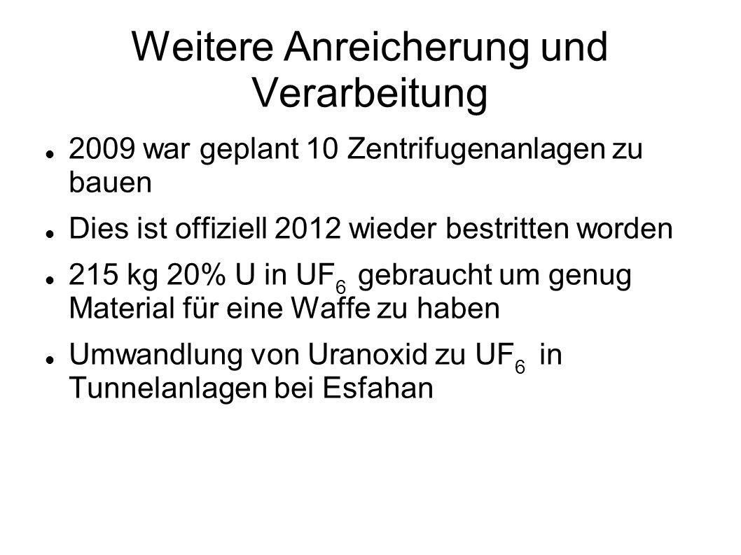 Weitere Anreicherung und Verarbeitung 2009 war geplant 10 Zentrifugenanlagen zu bauen Dies ist offiziell 2012 wieder bestritten worden 215 kg 20% U in