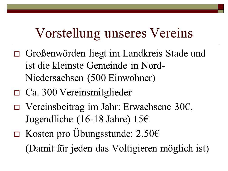 Vorstellung unseres Vereins Großenwörden liegt im Landkreis Stade und ist die kleinste Gemeinde in Nord- Niedersachsen (500 Einwohner) Ca. 300 Vereins