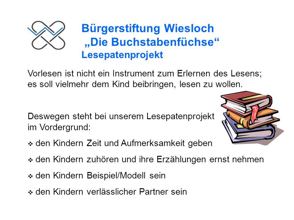 Bürgerstiftung Wiesloch Die Buchstabenfüchse Lesepatenprojekt Wie sieht Ihr Lesepateneinsatz konkret aus.