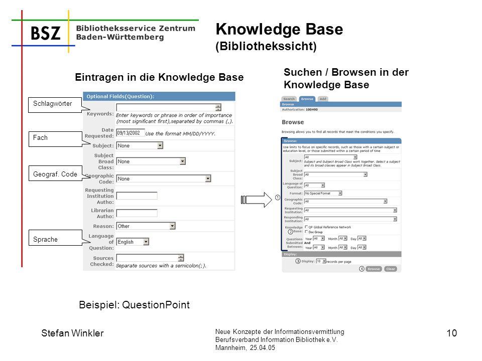 Neue Konzepte der Informationsvermittlung Berufsverband Information Bibliothek e.V. Mannheim, 25.04.05 Stefan Winkler10 Knowledge Base (Bibliothekssic
