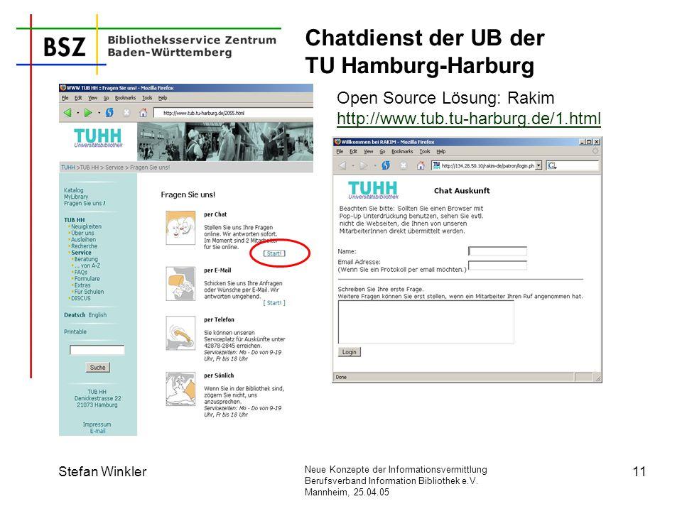 Neue Konzepte der Informationsvermittlung Berufsverband Information Bibliothek e.V. Mannheim, 25.04.05 Stefan Winkler11 Chatdienst der UB der TU Hambu
