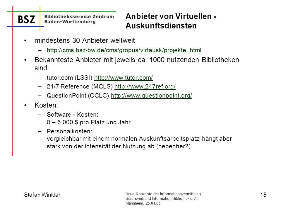 Neue Konzepte der Informationsvermittlung Berufsverband Information Bibliothek e.V. Mannheim, 25.04.05 Stefan Winkler15 Anbieter von Virtuellen - Ausk
