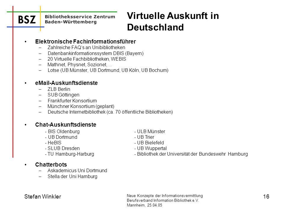 Neue Konzepte der Informationsvermittlung Berufsverband Information Bibliothek e.V. Mannheim, 25.04.05 Stefan Winkler16 Virtuelle Auskunft in Deutschl