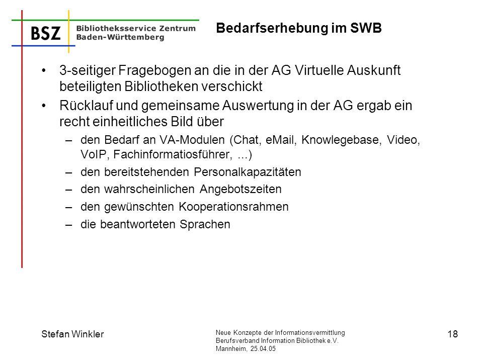 Neue Konzepte der Informationsvermittlung Berufsverband Information Bibliothek e.V. Mannheim, 25.04.05 Stefan Winkler18 Bedarfserhebung im SWB 3-seiti