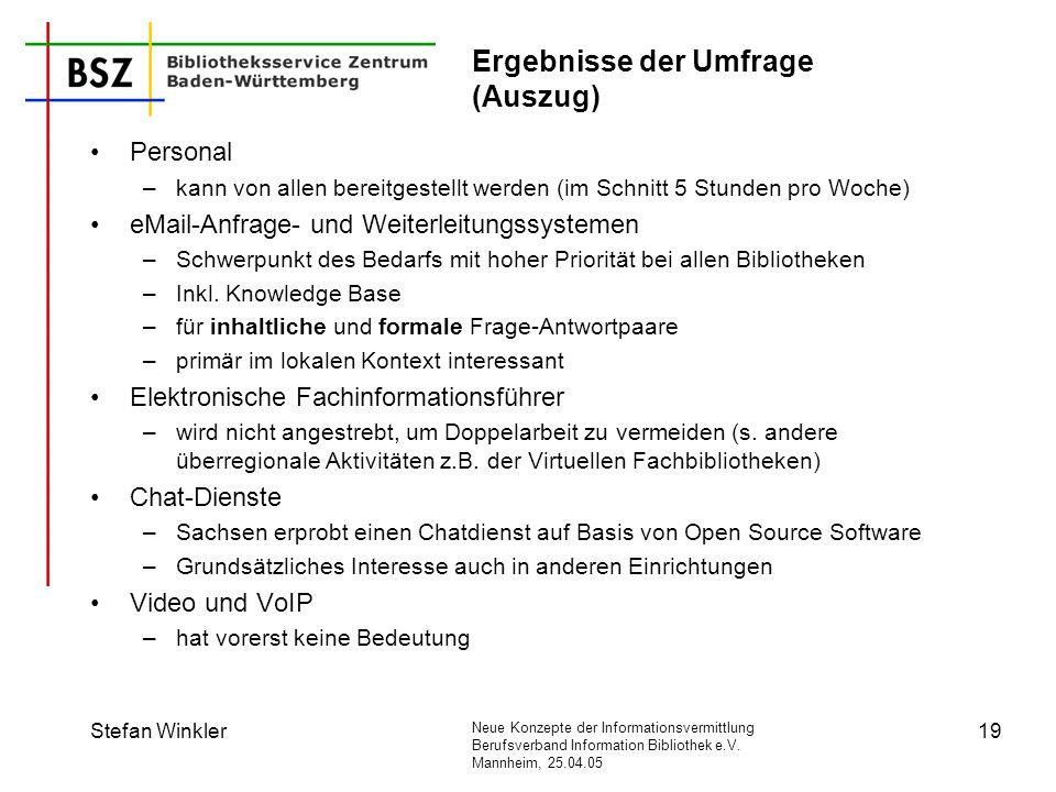 Neue Konzepte der Informationsvermittlung Berufsverband Information Bibliothek e.V. Mannheim, 25.04.05 Stefan Winkler19 Ergebnisse der Umfrage (Auszug
