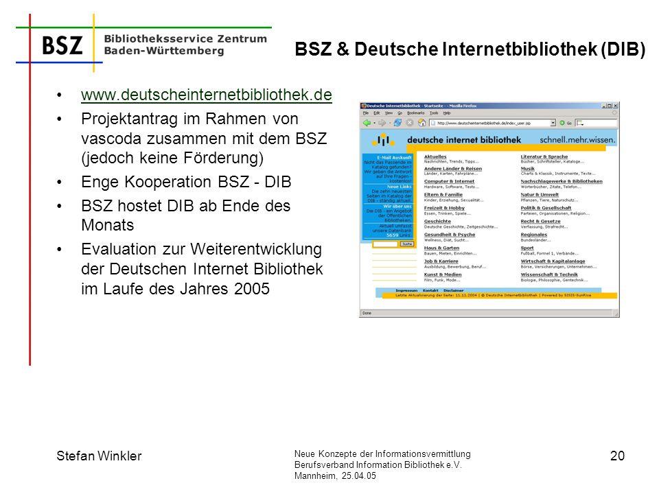 Neue Konzepte der Informationsvermittlung Berufsverband Information Bibliothek e.V. Mannheim, 25.04.05 Stefan Winkler20 BSZ & Deutsche Internetbibliot