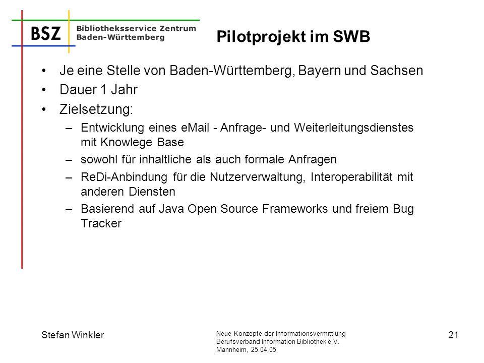 Neue Konzepte der Informationsvermittlung Berufsverband Information Bibliothek e.V. Mannheim, 25.04.05 Stefan Winkler21 Pilotprojekt im SWB Je eine St