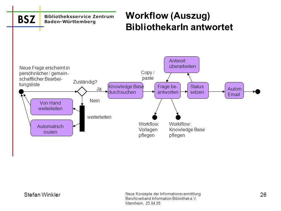 Neue Konzepte der Informationsvermittlung Berufsverband Information Bibliothek e.V. Mannheim, 25.04.05 Stefan Winkler26 Workflow (Auszug) Bibliothekar