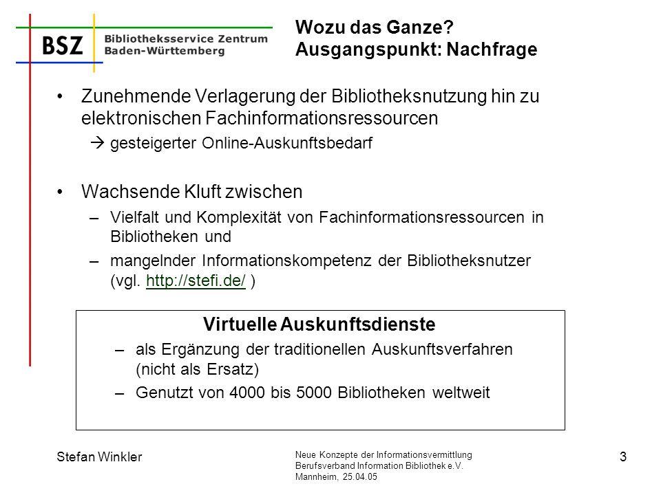 Neue Konzepte der Informationsvermittlung Berufsverband Information Bibliothek e.V. Mannheim, 25.04.05 Stefan Winkler3 Wozu das Ganze? Ausgangspunkt: