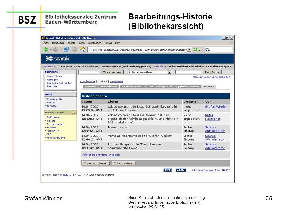 Neue Konzepte der Informationsvermittlung Berufsverband Information Bibliothek e.V. Mannheim, 25.04.05 Stefan Winkler35 Bearbeitungs-Historie (Bibliot
