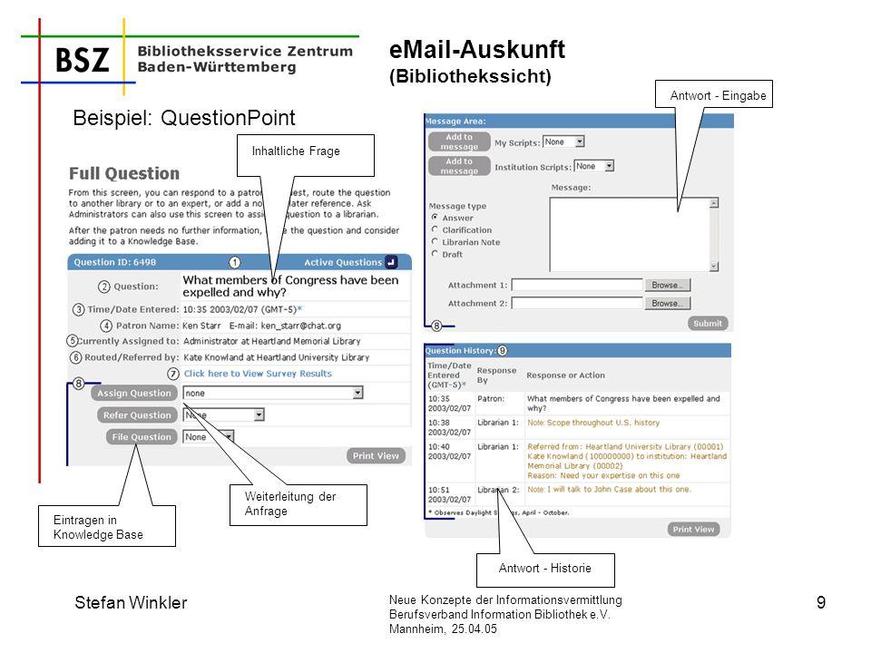 Neue Konzepte der Informationsvermittlung Berufsverband Information Bibliothek e.V. Mannheim, 25.04.05 Stefan Winkler9 eMail-Auskunft (Bibliothekssich