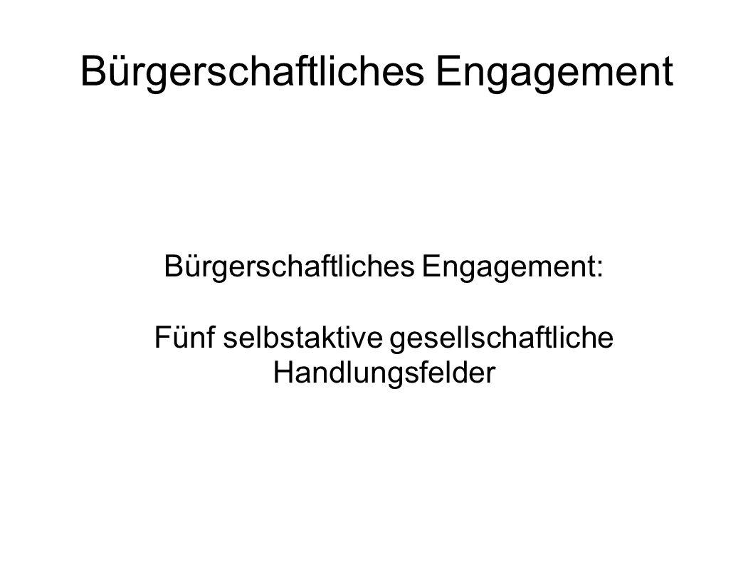Bürgerschaftliches Engagement Bürgerschaftliches Engagement: Fünf selbstaktive gesellschaftliche Handlungsfelder