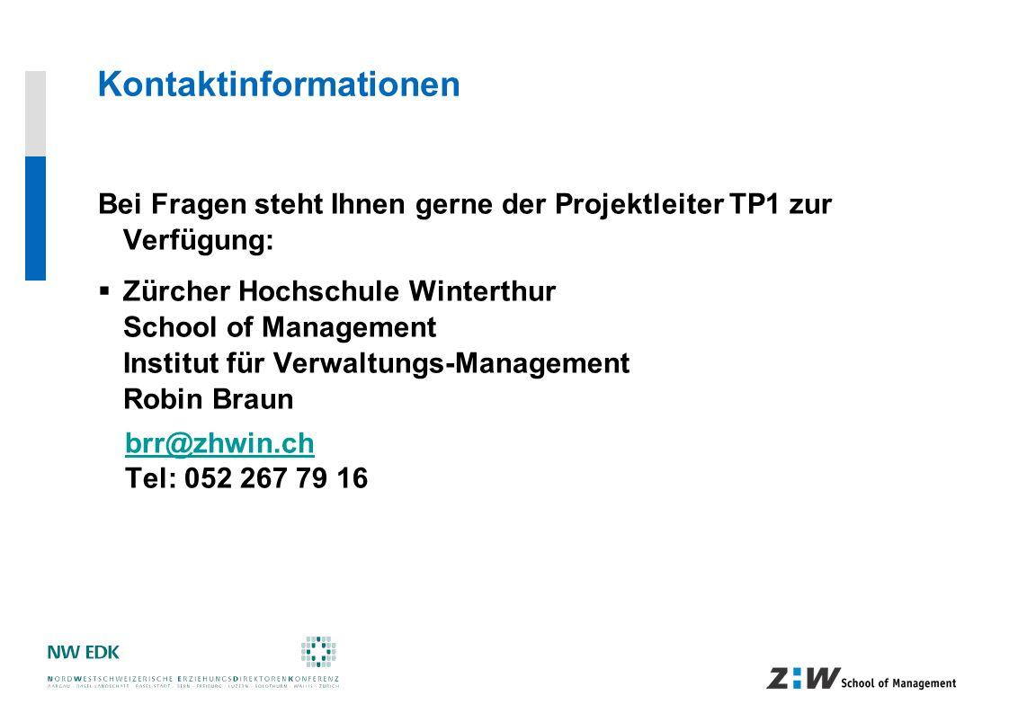 Kontaktinformationen Bei Fragen steht Ihnen gerne der Projektleiter TP1 zur Verfügung: Zürcher Hochschule Winterthur School of Management Institut für