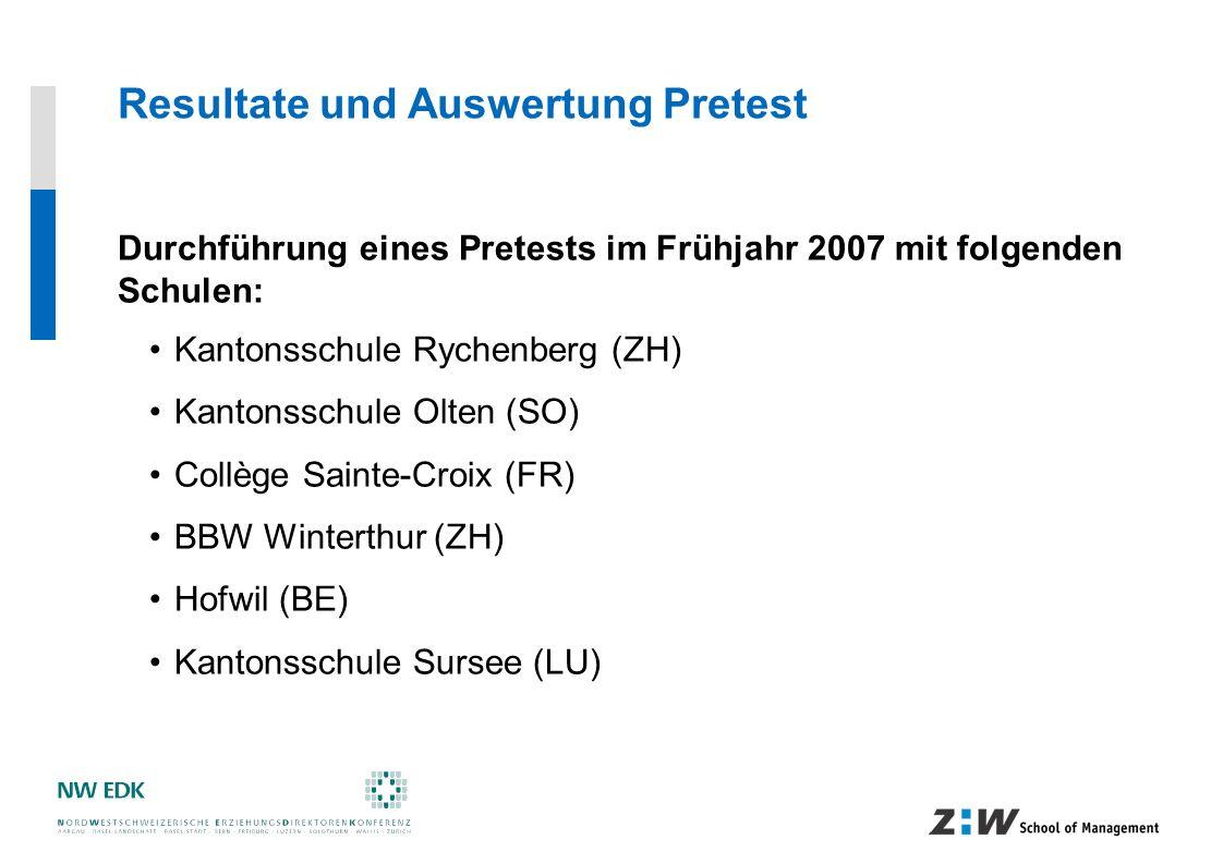 Resultate und Auswertung Pretest Durchführung eines Pretests im Frühjahr 2007 mit folgenden Schulen: Kantonsschule Rychenberg (ZH) Kantonsschule Olten
