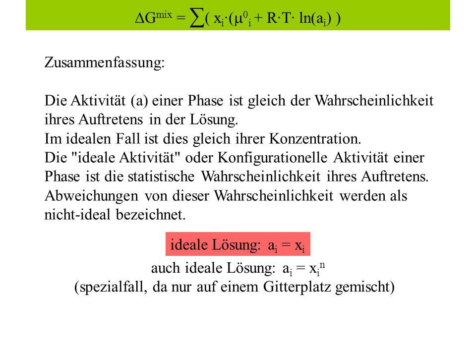 Zusammenfassung: Die Aktivität (a) einer Phase ist gleich der Wahrscheinlichkeit ihres Auftretens in der Lösung.