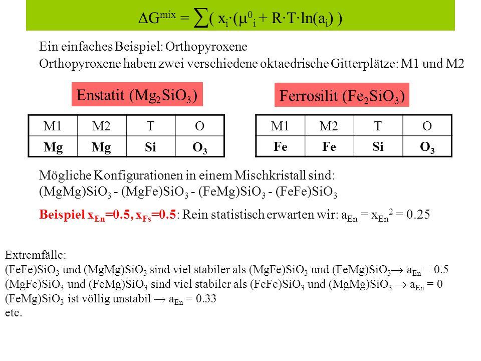 Ein einfaches Beispiel: Orthopyroxene Enstatit (Mg 2 SiO 3 ) Ferrosilit (Fe 2 SiO 3 ) G mix = ( x i ·( 0 i + R·T·ln(a i ) ) Mögliche Konfigurationen in einem Mischkristall sind: (MgMg)SiO 3 - (MgFe)SiO 3 - (FeMg)SiO 3 - (FeFe)SiO 3 Orthopyroxene haben zwei verschiedene oktaedrische Gitterplätze: M1 und M2 M1M2TO Mg SiO3O3 M1M2TO Fe SiO3O3 Beispiel x En =0.5, x Fs =0.5: Rein statistisch erwarten wir: a En = x En 2 = 0.25 Extremfälle: (FeFe)SiO 3 und (MgMg)SiO 3 sind viel stabiler als (MgFe)SiO 3 und (FeMg)SiO 3 a En = 0.5 (MgFe)SiO 3 und (FeMg)SiO 3 sind viel stabiler als (FeFe)SiO 3 und (MgMg)SiO 3 a En = 0 (FeMg)SiO 3 ist völlig unstabil a En = 0.33 etc.