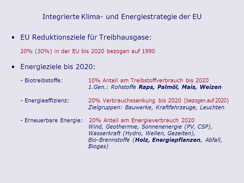 Integrierte Klima- und Energiestrategie der EU EU Reduktionsziele für Treibhausgase: 20% (30%) in der EU bis 2020 bezogen auf 1990 Energieziele bis 2020: - Biotreibstoffe: 10% Anteil am Treibstoffverbrauch bis 2020 1.Gen.: Rohstoffe Raps, Palmöl, Mais, Weizen - Energieeffizienz: 20% Verbrauchssenkung bis 2020 ( bezogen auf 2020 ) Zielgruppen: Bauwerke, Kraftfahrzeuge, Leuchten - Erneuerbare Energie: 20% Anteil am Energieverbrauch 2020 Wind, Geothermie, Sonnenenergie (PV, CSP), Wasserkraft (Hydro, Wellen, Gezeiten), Bio-Brennstoffe (Holz, Energiepflanzen, Abfall, Biogas)
