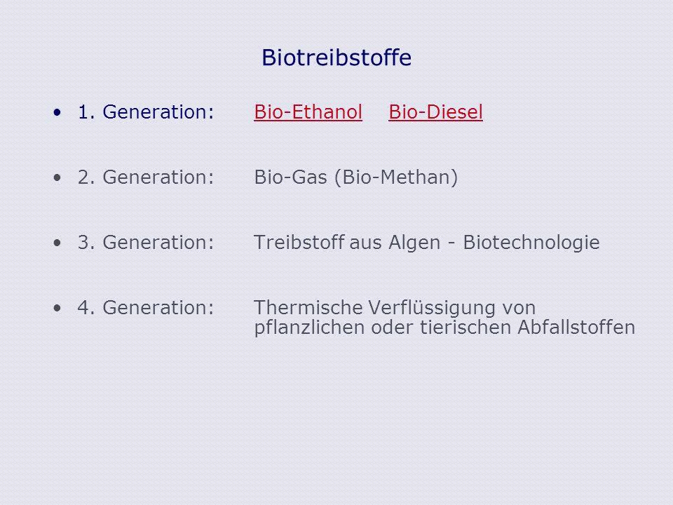 Biotreibstoffe 1. Generation: Bio-EthanolBio-Diesel 2.