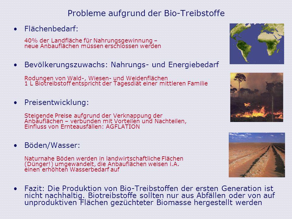 Probleme aufgrund der Bio-Treibstoffe Flächenbedarf: 40% der Landfläche für Nahrungsgewinnung – neue Anbauflächen müssen erschlossen werden Bevölkerungszuwachs: Nahrungs- und Energiebedarf Rodungen von Wald-, Wiesen- und Weidenflächen 1 L Biotreibstoff entspricht der Tagesdiät einer mittleren Familie Preisentwicklung: Steigende Preise aufgrund der Verknappung der Anbauflächen – verbunden mit Vorteilen und Nachteilen, Einfluss von Ernteausfällen: AGFLATION Böden/Wasser: Naturnahe Böden werden in landwirtschaftliche Flächen (Dünger!) umgewandelt, die Anbauflächen weisen i.A.