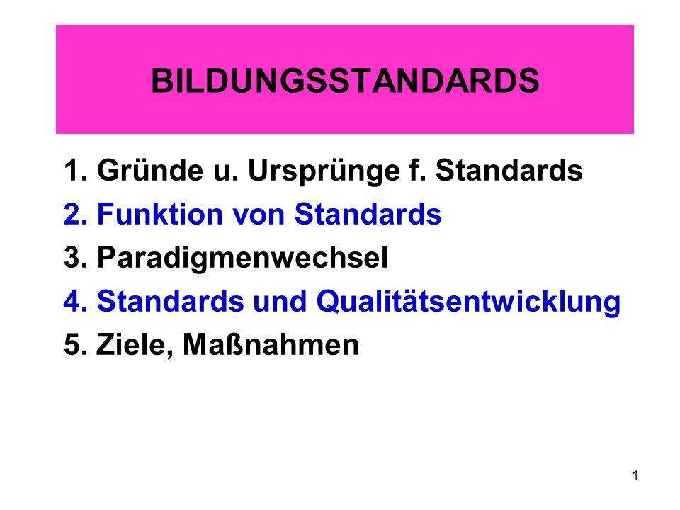 1 BILDUNGSSTANDARDS 1. Gründe u. Ursprünge f. Standards 2. Funktion von Standards 3. Paradigmenwechsel 4. Standards und Qualitätsentwicklung 5. Ziele,