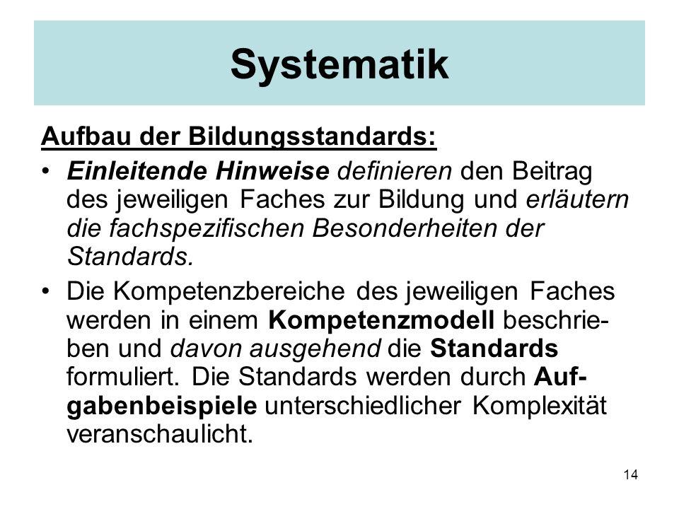 14 Systematik Aufbau der Bildungsstandards: Einleitende Hinweise definieren den Beitrag des jeweiligen Faches zur Bildung und erläutern die fachspezifischen Besonderheiten der Standards.