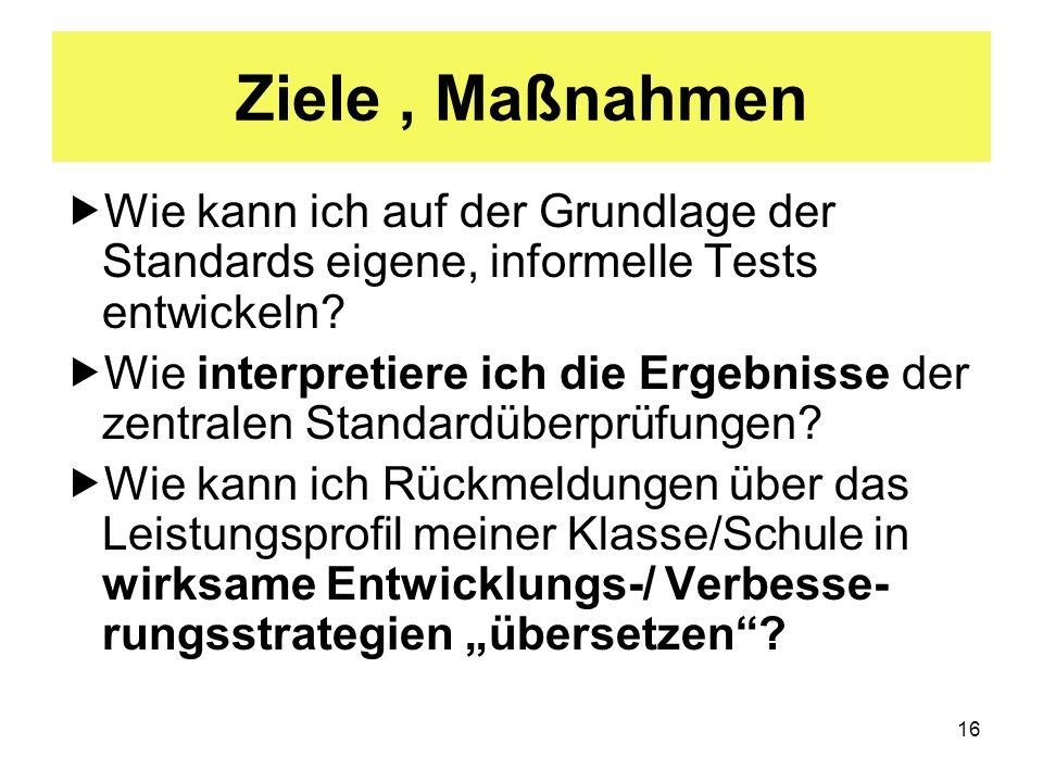 16 Ziele, Maßnahmen Wie kann ich auf der Grundlage der Standards eigene, informelle Tests entwickeln? Wie interpretiere ich die Ergebnisse der zentral