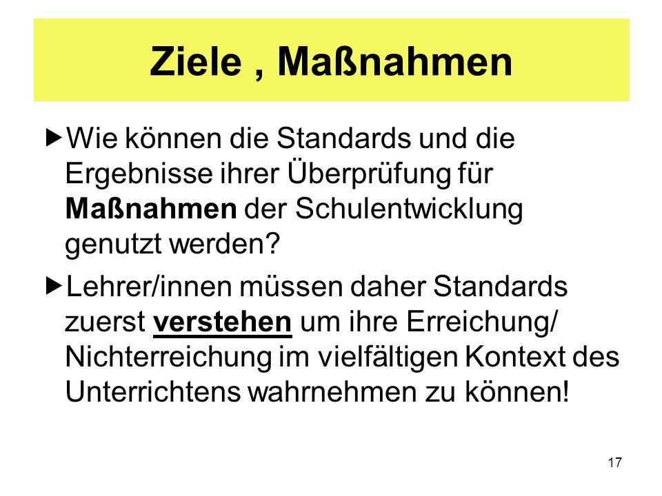17 Ziele, Maßnahmen Wie können die Standards und die Ergebnisse ihrer Überprüfung für Maßnahmen der Schulentwicklung genutzt werden? Lehrer/innen müss