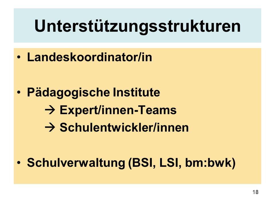18 Unterstützungsstrukturen Landeskoordinator/in Pädagogische Institute Expert/innen-Teams Schulentwickler/innen Schulverwaltung (BSI, LSI, bm:bwk)