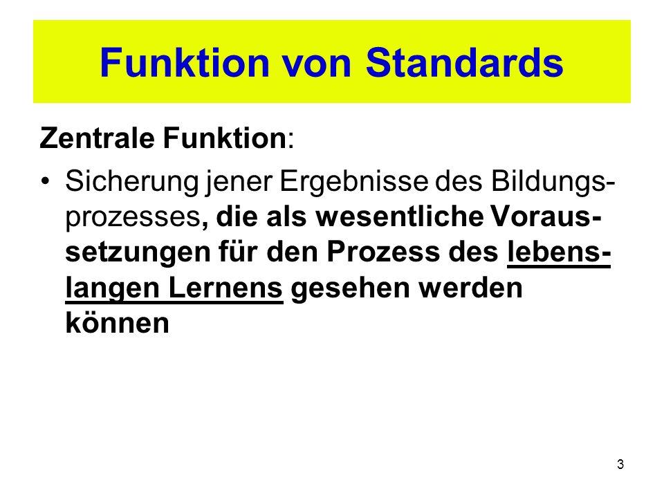3 Funktion von Standards Zentrale Funktion: Sicherung jener Ergebnisse des Bildungs- prozesses, die als wesentliche Voraus- setzungen für den Prozess des lebens- langen Lernens gesehen werden können